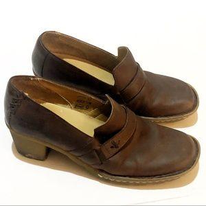 Dr. Martens Leather Loafer Heel Slip On Brown US 8